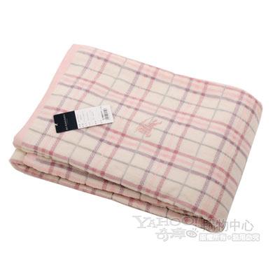 BURBERRY 經典戰馬正格紋棉毛毯-粉紅色