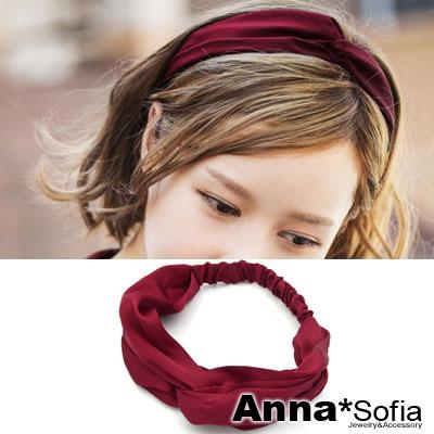 AnnaSofia-韓款柔緞交叉結-彈性寬髮帶-酒