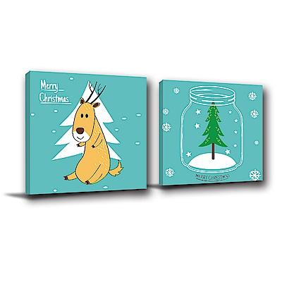 美學365-二聯式方型 掛畫無框畫 麋鹿聖誕節 40x40cm