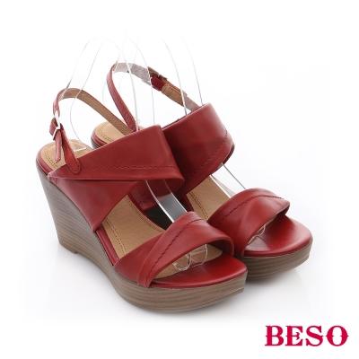BESO-摩登部落-真皮雙寬帶摺飾高跟楔型涼鞋-胭