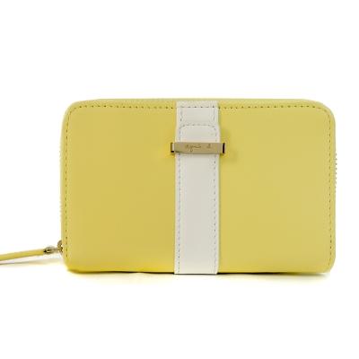 agnes b. 皮革直紋飾帶拉鍊鑰匙包-黃
