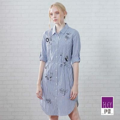 ILEY伊蕾 俏皮貼布刺繡條紋洋裝(藍)-動態show