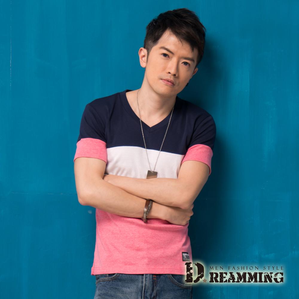 Dreamming 韓系潮流撞色布標V領短T-共三色