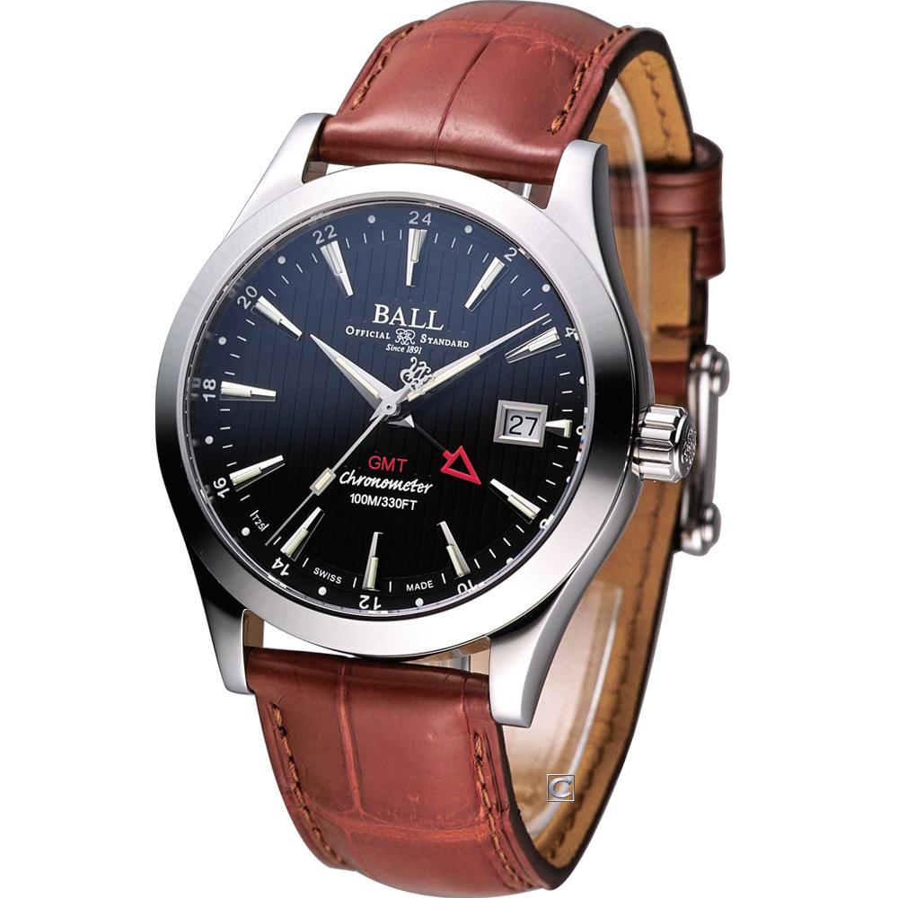 BALL GMT 瑞士天文臺認證雙時區機械腕錶-黑/40mm