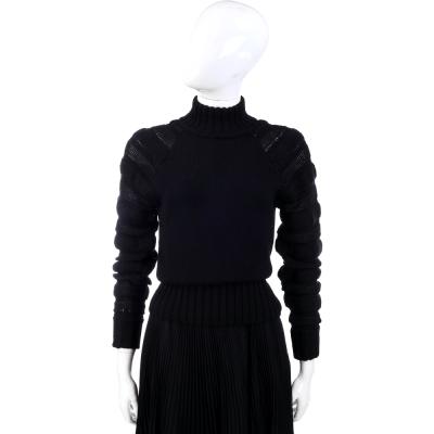 PHILOSOPHY 黑色拼接織紋立領羊毛長袖上衣(100%LANA)