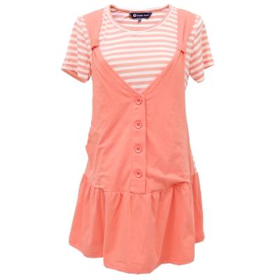 【ohoh-mini 孕婦裝】清新亮麗假兩件條紋長版哺乳衣