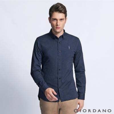 GIORDANO 男裝純棉修身刺繡圖案長袖襯衫 - 03 深海軍藍色