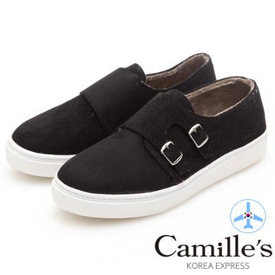 Camille's 韓國空運-正韓製-麂絨雙皮帶釦懶人鞋-黑色