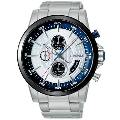 J.SPRINGS系列  龍戰騎士三眼計時時尚腕錶-黑銀X銀/46mm
