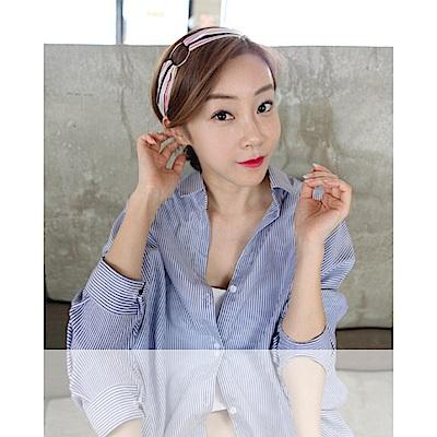 梨花HaNA 韓國春日靜好撞色條紋圈圈裝飾髮帶