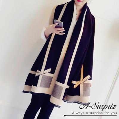 A-Surpriz 優雅蝶結加大兩面仿羊絨披肩圍巾(黑色)
