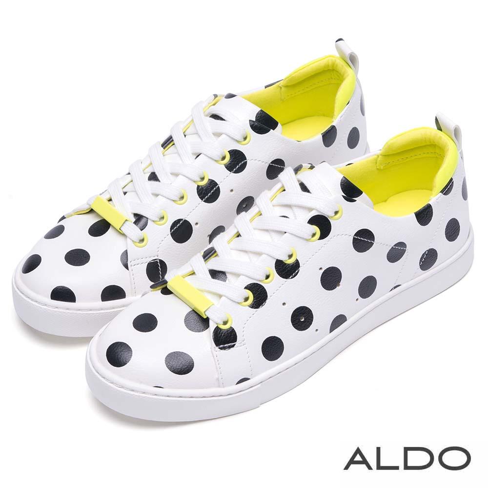 ALDO 原色幾何金屬柱交叉綁帶厚底運動鞋~水玉點點