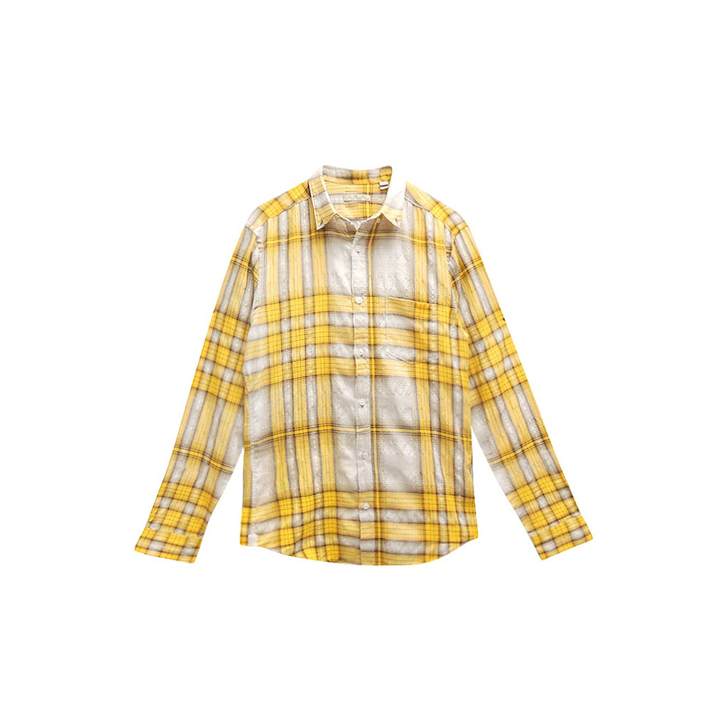 BURBERRY 黃色格紋男性長袖上衣
