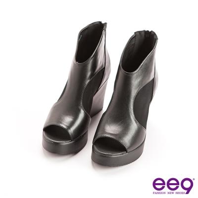 ee9經典率性-靚亮異材質併接鏤空露趾厚底楔型跟鞋