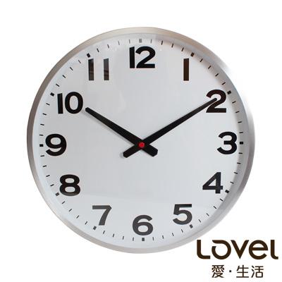 Lovel 38cm工業風鋁框靜音時鐘-潔白時光(726-SL)
