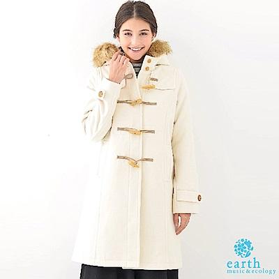 earth music 雙口袋長版牛角釦大衣外套