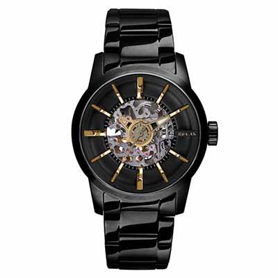 RELAX TIME鏤空機械腕錶(RT-38J-2)-黑X金/45mm