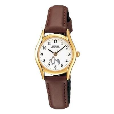 CASIO經典復古氣質童真皮帶指針腕錶-企鵝圖樣LTP-1094Q-7B6 25mm