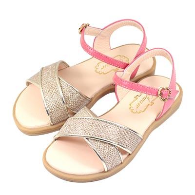 Swan天鵝童鞋-閃耀亮蔥交叉涼鞋 3847-桔