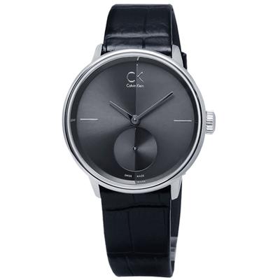 CK  Uhren Accent 獨立秒針瑞士機芯皮革手錶-黑色/31mm