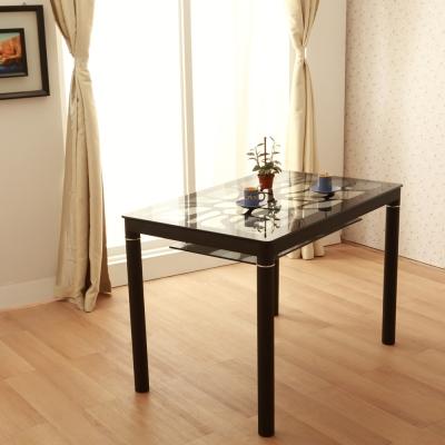 【Jiachu 佳櫥世界】Cyris瑟珞斯簡約水波紋玻璃餐桌(共二色)