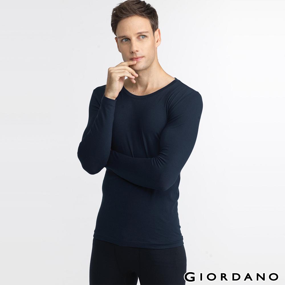 GIORDANO男裝G-Warmer彈力舒適圓領極暖衣-04 標志海軍藍色