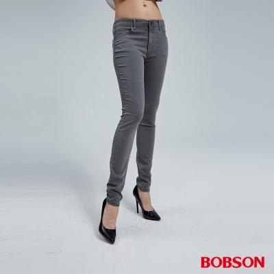 BOBSON 女款高腰強彈灰色小直筒褲