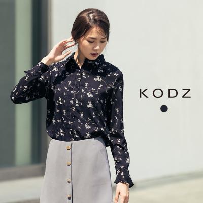東京著衣-KODZ 雜誌款印花喇叭袖襯衫-S.M.L(共一色)