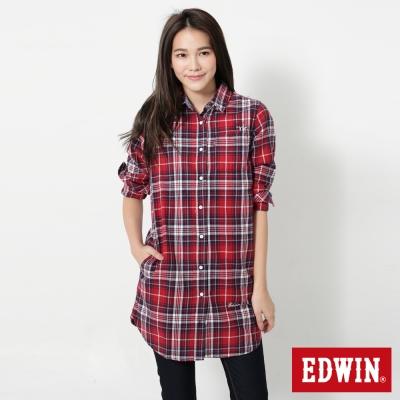 EDWIN-雙口袋休閒長版長袖襯衫-女-紅色
