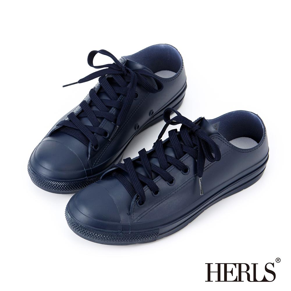 HERLS 雨季必備 帆布款低筒綁帶雨鞋-深藍