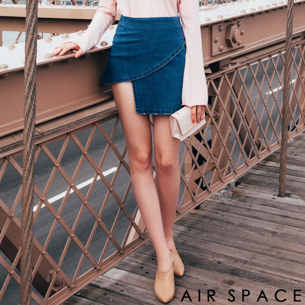 AIR SPACE CHIAO聯名不對稱A字牛仔短裙藍