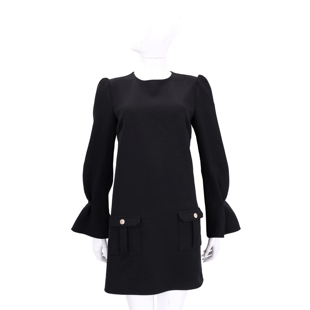 ELISABETTA FRANCHI 黑色荷葉袖口袋設計長袖洋裝