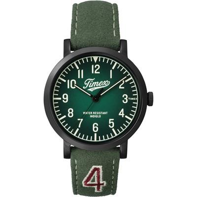 TIMEX 天美時復刻University系列學院風手錶-綠/42mm