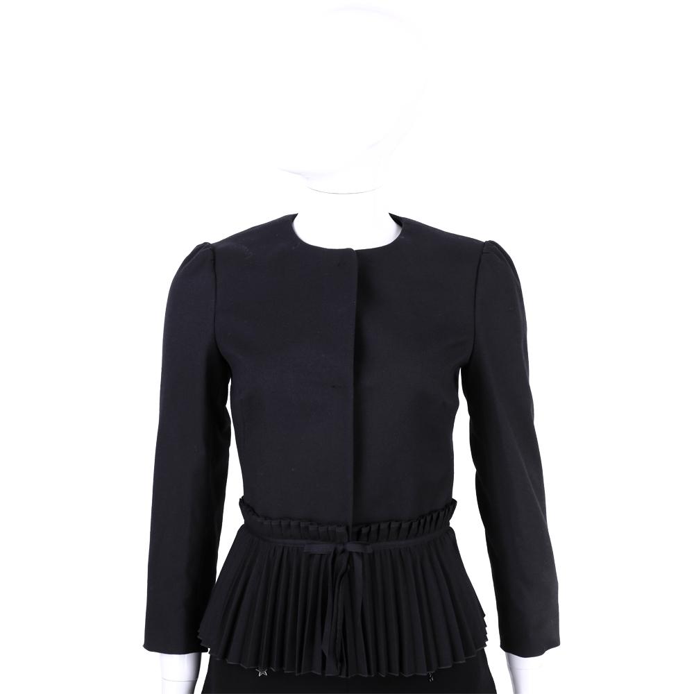 RED VALENTINO 黑色百摺設計釦式外套