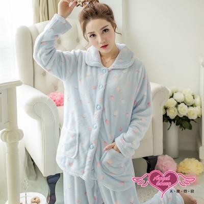 保暖睡衣 甜蜜糖球 法蘭絨二件式長袖居家服(藍F) AngelHoney天使霓裳