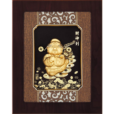 開運陶源 金箔畫 純金 *古典中國風系列*Q版【財神到】...27x34cm