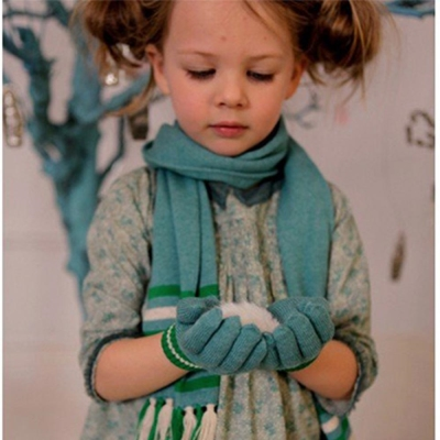 I Love Gorgeous 喀什米爾羊絨流蘇圍巾-湖藍綠