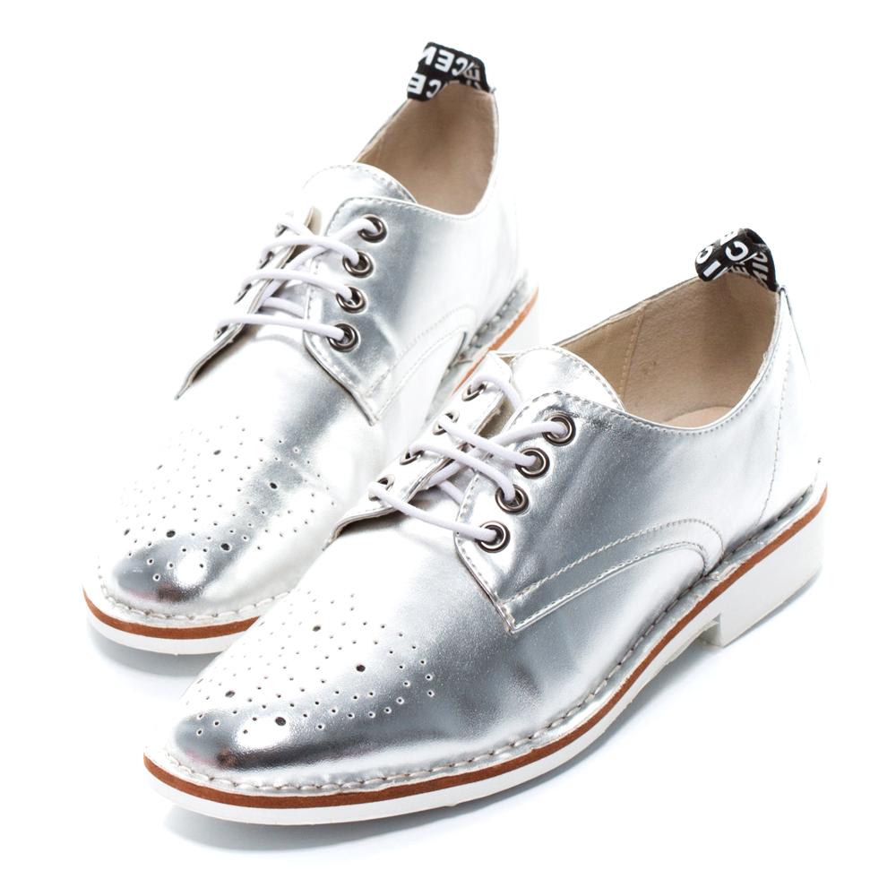 ALLEGREZZA‧LADY系列‧個性簡約雕花牛津鞋 漆皮銀