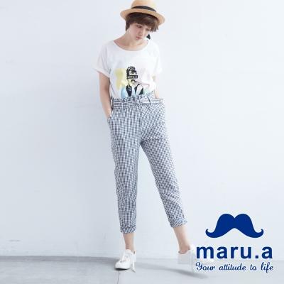 maru-a麻洛野-腰際鬆緊抓褶格紋長褲