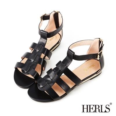 HERLS-內真皮低跟羅馬涼鞋-黑色
