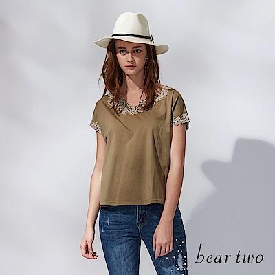 beartwo 繡花細線領邊寬版連袖棉T(二色)