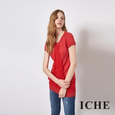 ICHE 衣哲 百搭拼接長版針織短袖造型上衣