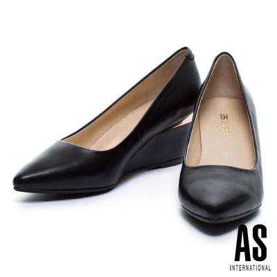 高跟鞋-AS-金屬風羊皮美型尖頭楔型高跟鞋-黑