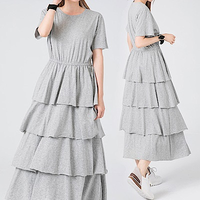 純色收腰全裙裡襯蛋糕洋裝-(共二色)Andstyle