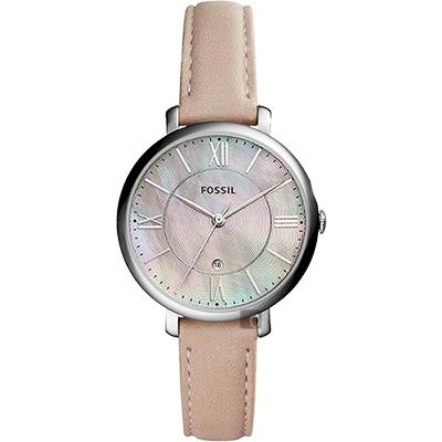 FOSSIL Jacqueline 羅馬時尚女錶(ES 4151 )-珍珠貝x粉色/ 36 mm