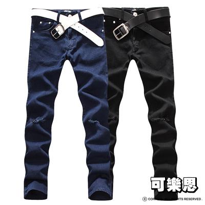 可樂思-韓國定番款抓破設計彈性合身牛仔褲-共二色