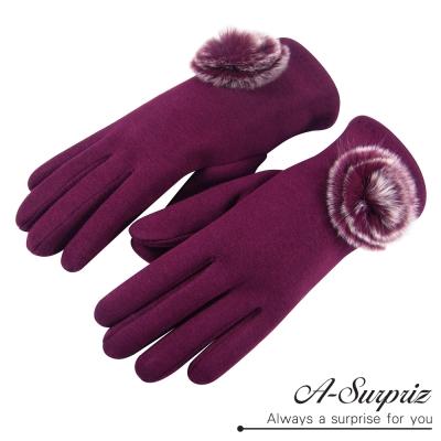 A-Surpriz-兔毛球球精梳棉觸控手套-酒紅