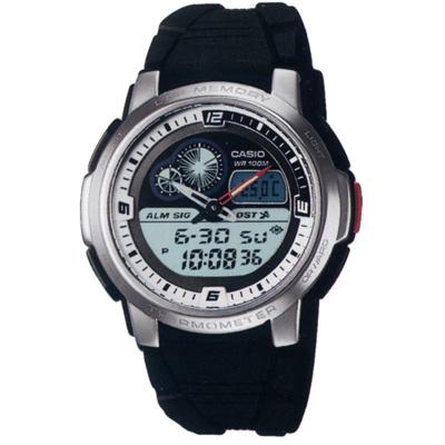 CASIO 測溫雙顯休閒膠帶錶(AQF-102W-7B)-43mm