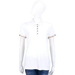 BURBERRY 格紋飾邊伸縮棉質網眼POLO衫(白色)