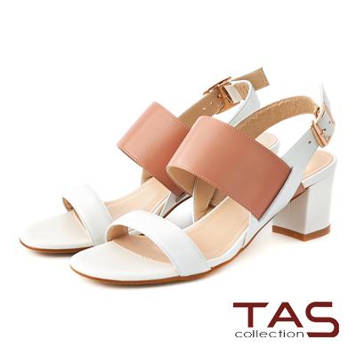 TAS 寬版配色繫帶粗跟涼鞋-典雅白